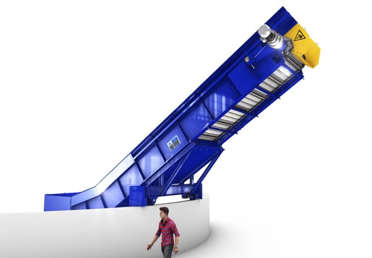 Convoyeur bande metallique dechets
